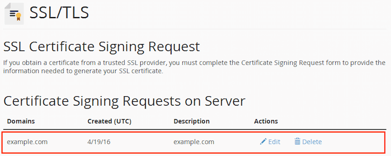 cPanel Certificate Signing Request with the new CSR generated
