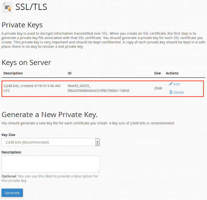 cPanel Private keys with the new key generated