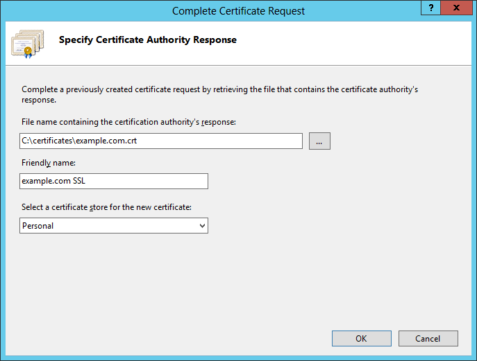 Select the signed certificate file
